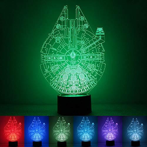 Star Wars Illusion 3D de la lumière Nocturne 7 Couleurs, USB alimenté par LED Petite Lampe de Table d'éclairage, Décoration de Chambre d'éclairage pour Enfants Cadeau d'anniversaire