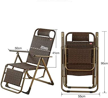 Chaise Lounge Natural Rattan Chair, Office Dining Chair Reclining Dining Chair Outdoor Folding Garden Chair Outdoor Chair QYDJD