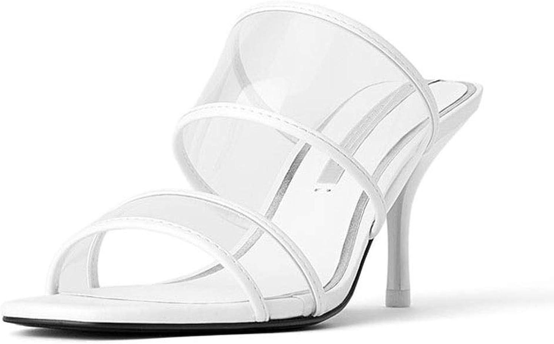 Frauen Sandalen Sommer Frauen High Heel Sandalen einfarbig transparent sexy offene Zehen Fischmund Quadrat Kopf Mode Persnlichkeit High Heel Hausschuhe High Heel Sandalen