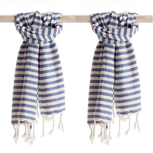 ANATURES Asciugamano per hammam Holiday (Set di 2) 45 x 90 cm   Premium - Oeko-Tex - Fairtrade - Cotone Biologico - Telo da Bagno, Telo Mare, Telo hammam (Denim Blu)