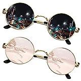 SUNIER Gafas de sol redondas pequeñas para mujer, polarizadas John Lennon Retro Circle Mirrored Shades marco dorado 2 unidades