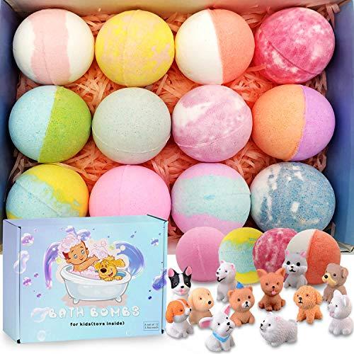 Bath Bombs for Kids with Toys InsideKids Bath Bombs Organic Bubble Bath Fizzies Bomb 35 oz/per 12 Pcs Set Birthday/Christmas Surprise Gift for Girls amp Boys