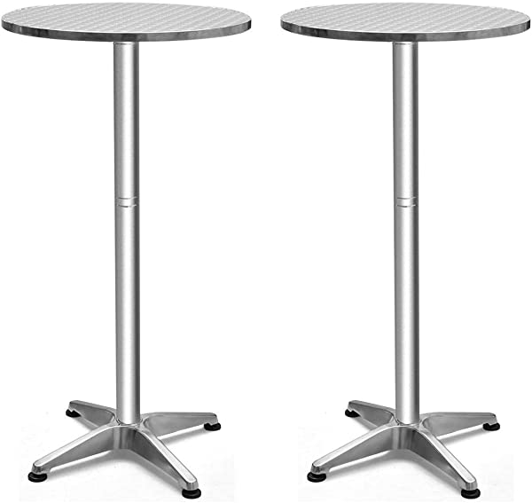 银色轻质不锈钢铝圆形折叠桌面吧台桌子有吸引力的家具室内室外光滑可调节高度耐高温防紫外线防水露台