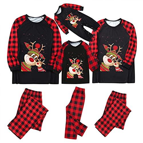 Pijamas familiares a juego para mujeres hombres nios beb Navidad rojo Plaid Elk vacaciones pijamas ropa pijama, A-negro, M