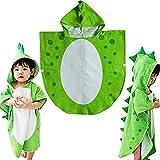 Handtuch-Poncho für Kinder, mit Kapuze, Dinosaurier-Design, ideal für den Strand, grün, 65cm*135cm
