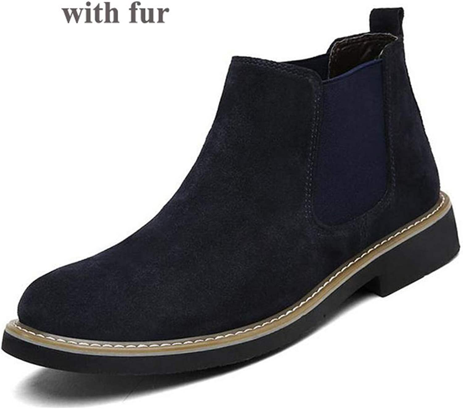 ZHRUI Men Chelsea Boots Fashion Ankle Leather Slip Ons Motorcycle Warm shoes (color   Deep bluee Fur, Size   5.5 UK)