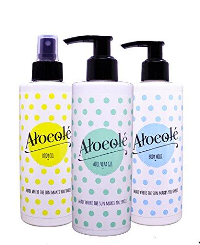 AloeOlé | Gel de Aloe Vera Puro 100% + Crema hidratante corporal + Aceite de Almendras Dulces | Cosmética Natural y Ecológica, sin ingredientes tóxicos | Producido en España |