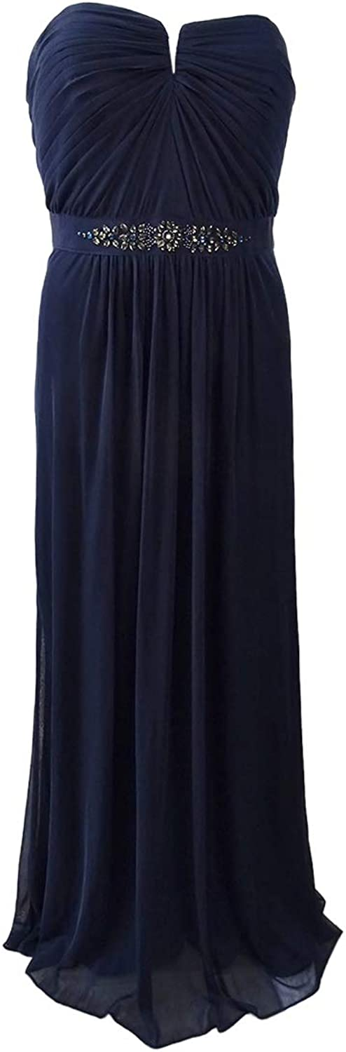 Adrianna Papell Womens Strapless Jeweled Formal Dress