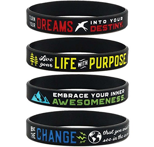 "Inkstone (12-Pack) Inspirational Bracelets Assortment Mix -""Be The Change, Live with Purpose, Embrace Your Awesomeness, Turn Dreams into Destiny"" - Wholesale Bulk Motivational Jewelry for Men Women"