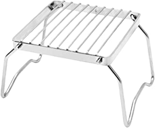 LIOOBO Portable BBQ Grill - Folding Stainless Steel Grill - Campfire Grill - Rack for Backpacking, Hiking, Picnics, Fishing