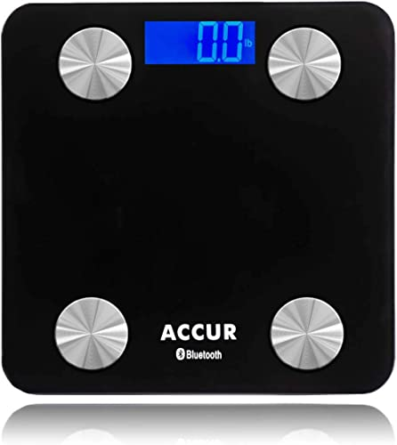 ACCUR Digital Bathroom Scales, Smart Bluetooth Weight Scale with BMI, Body Fat Monitors, Most Accurate, Black, 396lb