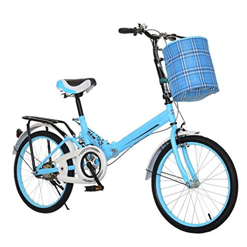 TXTC Cruiser Bike Women,20 Inch Wheel,Folding Bike with Car Bell and Car Lock,Lightweight Outdoor Womens Bike City Bike Best Gift for Family and Mother (Color : Blue)