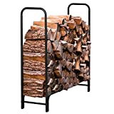 Syntrific Firewood Log Rack Indoor Outdoor Heavy Duty Log Holders for Firewood Wrought Iron Firewood Holders Lumber Storage Stacking Black Logs Bin Holder for Fireplace Tool Accessories