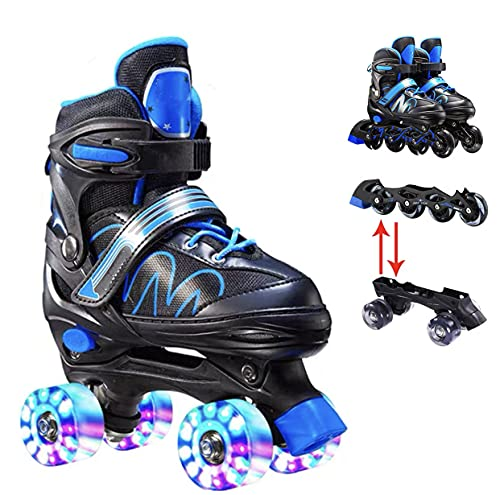 Rollschuhe für Kinder und Erwachsene Einstellbar InlineskatesVerstellbare Atmungsaktive Skates Inlineskates Mit PU Glühräder(Kostenlose Schutzausrüstung ) (Blau(austauschbar), L(37-41))