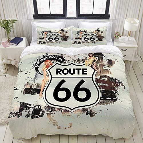 Dodunstyle Copripiumino, Route 66 Auto d'Epoca Ragazza di Bellezza Sexy, Set di Biancheria da Letto Set di copripiumini di Lusso Ultraleggero, Leggero e Confortevole