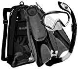 U.S. Divers Purge Mask, Hingeflex Fins, Dry Snorkel Set, with Snorkeling Gear Bag, BK-SM