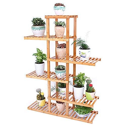 Étagère à Fleurs- Support de Plante en Bambou à 6 Niveaux, Support D'étagère À Fleurs Multicouche Intérieur Extérieur pour Balcon Patio Jardin Salon, 12 Pots de Fleurs