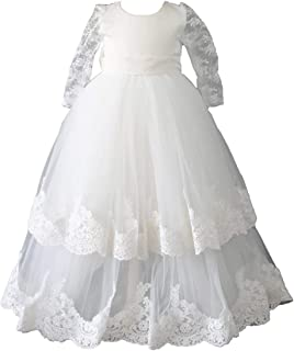 Baby Girls Baptism Christening Gown Dress with Bonnet Long Tulle Lace Edge
