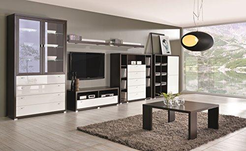 mb-moebel Moderne Wohnwänd Wohnzimmerschrank Wohnzimmer Elegantes Möbel: Vitrine mit LED, 3X Komode, 2X Regal, Couchtisch Olymp 4 WENGE + WEIß Hochglanz (Wenge + Weiß)