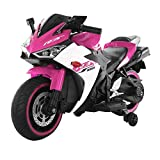 Electric Ride On Motorcycle for Kids, 12V Kids Ride On Motorcycle Toys Electric Motorcycle Dirt Bike Motorcycle Electric Mini Bike with Light Wheels, Ride ON Toy for Boys, Girls, and Toddlers (Pink)