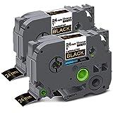 Unismar Compatible Label Tape Replacement for Brother P-Touch TZe-354 TZ354 TZe354 for PT-D600 PT-P700 PT-2430PC PT-D600VP PT-D800W PT-P900W PT-P950NW Label Maker, 1' x 26.2', Gold on Black, 2-Pack
