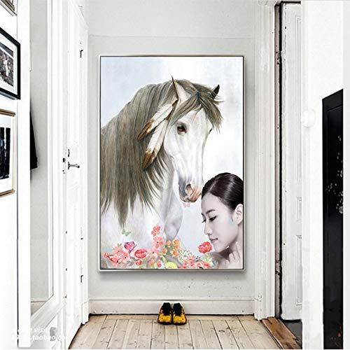 N / A Blanco y Negro Minimalista Chica y Caballo Animal Decoración Pintura Cartel Arte de la Pared HD Sala de Estar Imagen Sin Marco 50x75cm