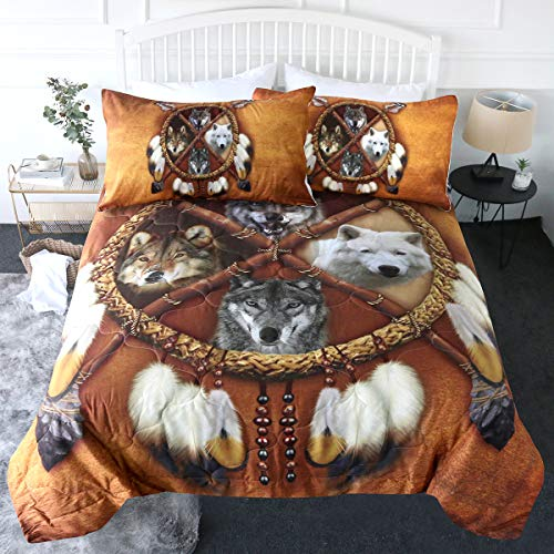 BlessLiving 3 Piece Wolf Dream Catcher Comforter Set with Pillow Shams Wolves Native Bedding 3D Printed Reversible Comforter Twin Size Bedding Sets Soft Comfortable Machine Washable, Brown Gold