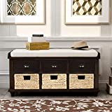 Rustic Storage Bench with 3 Drawers and 3 Rattan Baskets for Entryway Shoe Bench with Removable Cushion for Living Room and Bedroom - Espresso