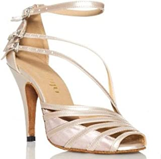 CRC Women's Stylish Peep Toe Skin PU Leather/Satin Ballroom Morden Salsa Latin Tango Party Wedding Professional Dance Sandals