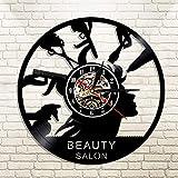 UIOLK Salón de Belleza Reloj de Pared con Disco de Vinilo y Relojes Corte de Pelo Luces LED Arte de Pared barbero retroiluminación led decoración del hogar