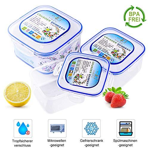 Erlliyeu Frischhaltedosen-Set, Aufbewahrungsbehälter für Lebensmittel mit Deckel, luftdicht, 3-teiliges, für Mikrowelle, Gefrierschrank und Spülmaschine (Quadrat)