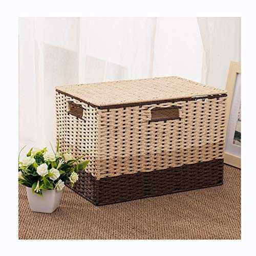 pot Storage Basket Hand Made, Storage Bin with Lid and Insert Handle for Easy Carrying Convenient Storage Organizer Box for Clothes (Size : M)