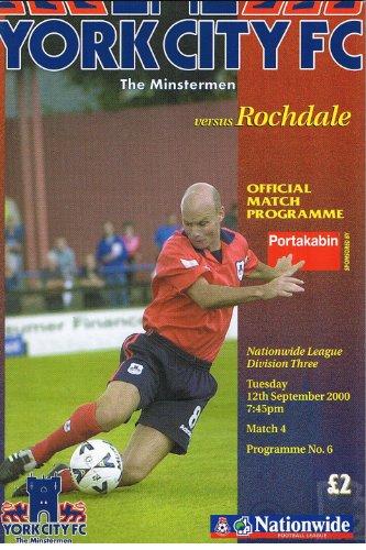 York City v Rochdale FC 12/09/00 (Bootham Crescent) football programme