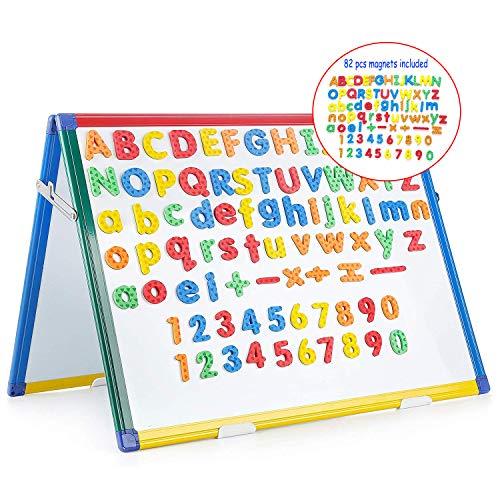 SWANSEA Kindertafel Whiteboard Klappbar Magnettafel Kinder mit Bunte Rahmen, Doppelseitig - 60x45cm