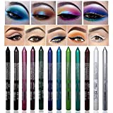 XUNN 12 Colors Eyeshadow Pencil Glitter Eyeliner Pen Set Waterproof Smudge-Proof Long Lasting Liner Pencil Kit For Women Eye and Lip Liner (with 2 Pencil Sharpeners)