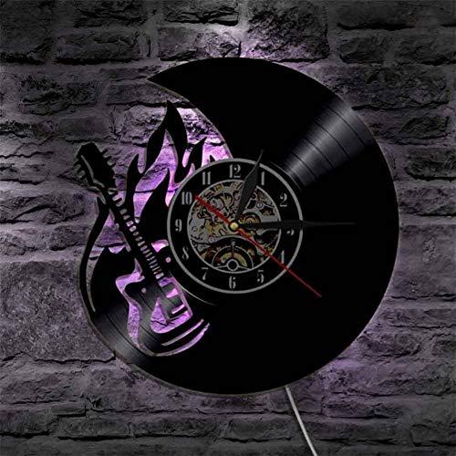 CQAZX Gitarre LED Vinyl Uhr Silhouette Wand Lampe Kunst Hintergrundbeleuchtung cool Wohnzimmer Farbwechsel