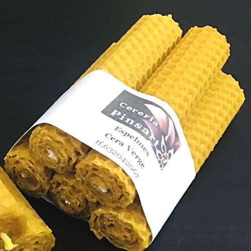 VELAS PINSART Velas Artesanal velas de cera virgen -Elaboradas íntegramente con ceras naturales, y perfume de miel en paquetes de cinco unidades