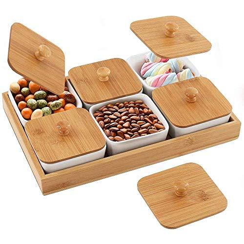 Aperitivo Bandeja for servir Plato de cerámica Snack-Bandeja for servir, Bandeja for servir con seis compartimentos y la tapa de bambú y las paletas del ventilador extraíble bandejas, alimentos servid