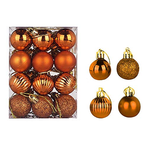 24 pcs Christmas Balls Ornaments Xmas Trees, Wedding Party Decoration Window Dressing, Christmas Tree Decoration Ball (3cm, Bronze Color)