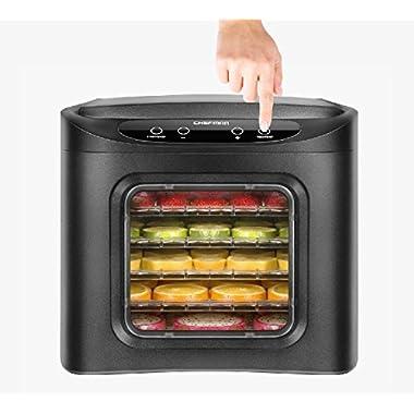 Chefman Food Dehydrator Machine, Electric Multi-Tier Food Preserver, Meat or Beef Jerky Maker, Fruit Leather, Vegetable Dryer w/6 Slide Out Drying Rack Trays & Transparent Door, Black