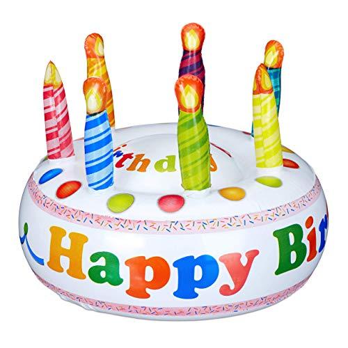 Relaxdays 10023885 aufblasbare, Happy Birthday-Aufdruck, Deko Torte mit 7 Kerzen, Geburtstagskuchen HxD: 20 x 26 cm, bunt