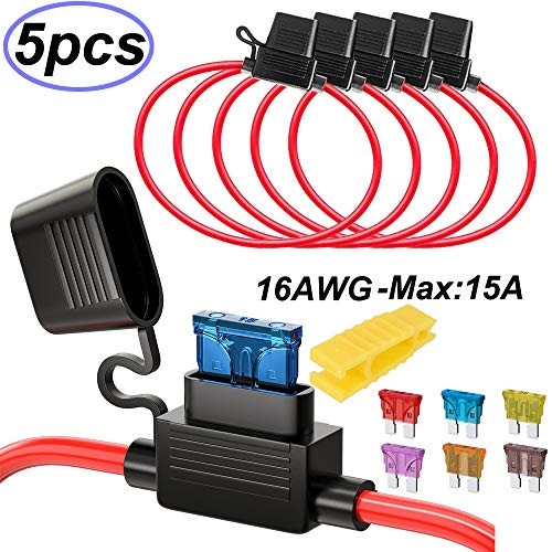 Gebildet 5pcs 16AWG Sicherungshalter mit Draht für KFZ LKW, 32V 20A Inline Flachsicherung Wasserdicht Halter, mit 6-teiligen Standard Mittel Flachsicherungen (3A /5A /7.5A /10A /15A /20A)