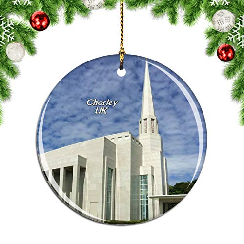 Weekino UK England Preston England LDS Mormon Temple Chorley Christmas Xmas Tree Ornament Decoration Hanging Pendant Decor City Travel Souvenir Collection Double Sided Porcelain 2.85 Inch