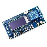 QWORK Relé de retardo de tiempo, módulo de relé DC 6-30 V , control de interruptor de retardo 0.01s-9999min con pantalla LCD compatible con fuente de alimentación micro USB de 5 V