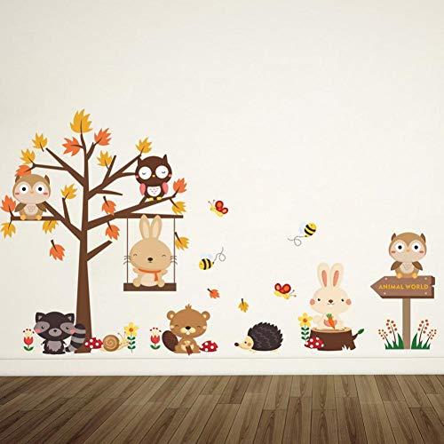 Animal World Kids Rooms Decals Wall Sticker DIY Cartoon Rabbit Hedgehog Baby Bedroom Nursery Home Decor Poster