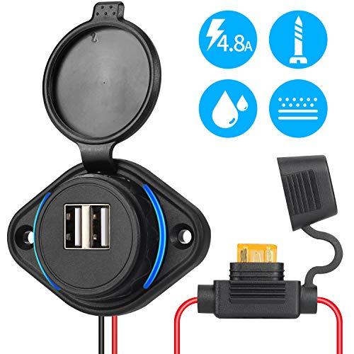 Rupse USB Auto Steckdose, 5V 4.8A Dual Auto KFZ Ladegerät, Wasserdichte Power Adapter 12V/24V mit Sicherung 5A LED Blaue Licht für Boot, Motorrad, LKW, ATV, RV, Roller