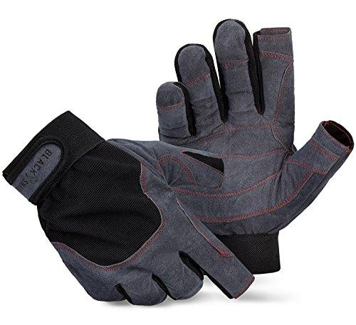 Blacksnake® Sailing Gloves Segelhandschuhe Wassersport Regatta Einsatzhandschuhe - Grau/Schwarz - M