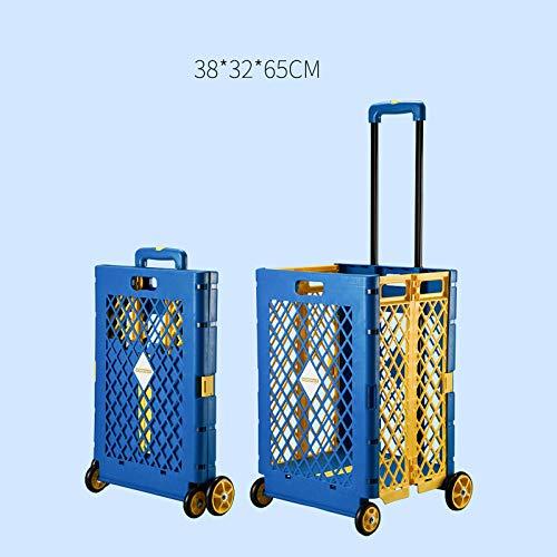 Einkaufstrolley auf 4 Rädern, faltbar, Einkaufswagen, wasserdicht, 65 l, Rosa / Blau blau