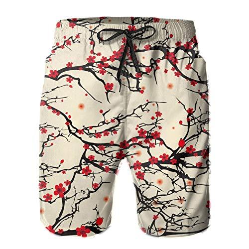 XUJ YOGA Men's Japanese Cherry Blossom Shorts Casual Beach Shorts Breathable Shorts Quick Dry Beachwear with Elastic Waist Big & Tall Half Pants