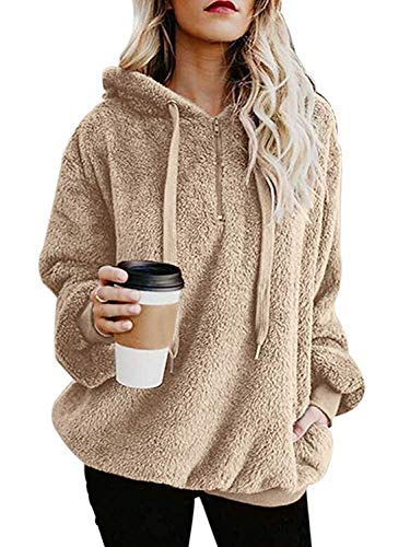 ReachMe Womens Oversized Sherpa Pullover Hoodie with Pockets Fuzzy Fleece Sweatshirt Fluffy Coat(Khaki,3XL)